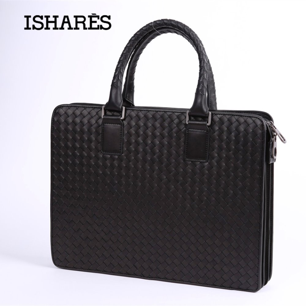 ISHARES Fashion Superior Cowhide Leather Accordion Style Men Handbag Genuine Leather Male Casual Leather Weave Briefcase 3259-1