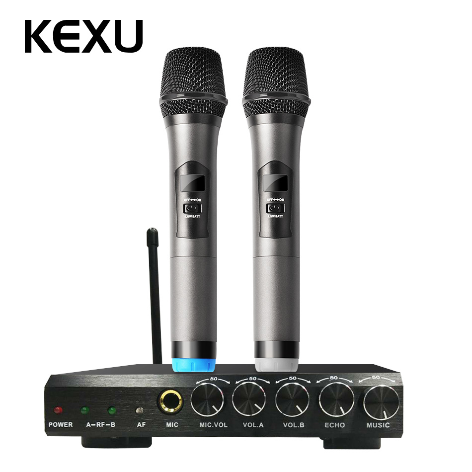 KEXU UHF Dual Channel Wireless Handheld Microphone, Easy-to-use Karaoke Wireless Microphone System high end uhf 8x50 channel goose neck desk wireless conference microphones system for meeting room