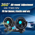 360 Degrees Cooling Fans Car Fan 12V Portable Double storms Fans