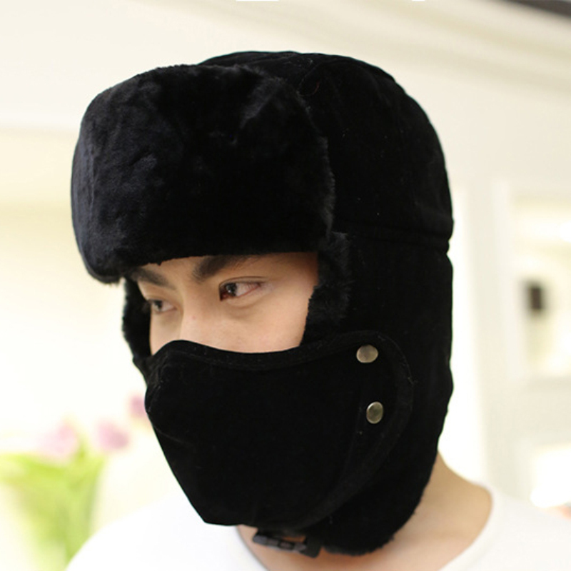Caps Fur Hats Mask Russian Winter Black Warm Men Solid for Bomber with Thick HT540 Fleece