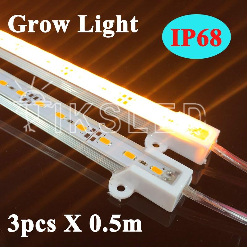 3pcs 50cm/piece 5730 12V IP68 Waterproof LED Bar Rigid Light Strip Grow Lights Hydroponic Plant Flowers LED Grow Plant Growing