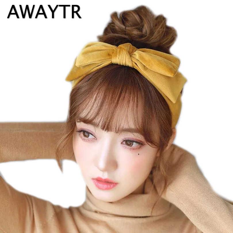 AWAYTR Velvet Hairband for Women Girls Hair Accessories Bezel Headband Big  Bow Hair Hoop Winter Headwear c96089a4c139
