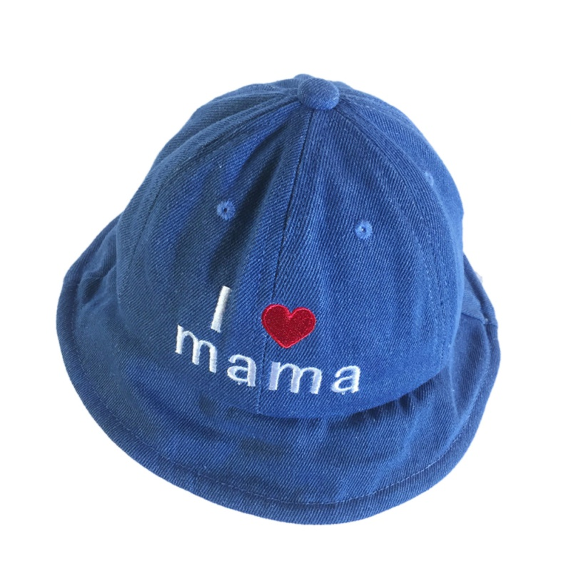 Boys Girls Children Denim Bucket Hats Child Caps Sun Protection Cute Fashion Heart Letter Holiday Travel Hat Age 2-5