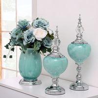 Luxurious European Home Decorative Accessories Fashion Europe Ceramic Figurines Ornaments Wedding Tabletop Flower Modern Vase