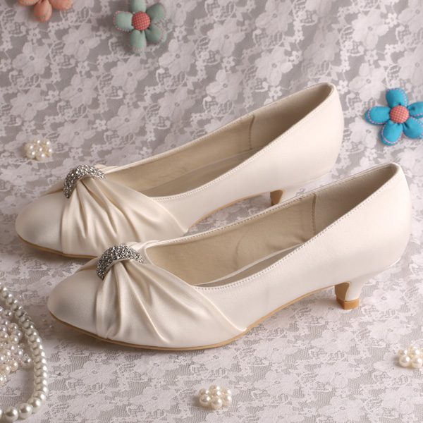 (20 Colors) Wedopus Large Size 10 Wedding Bride Shoes White Satin Low Heeled