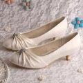 (20 Cores) Wedopus Grande Tamanho 10 Sapatos de Noiva Casamento de Cetim Branco Salto Baixo