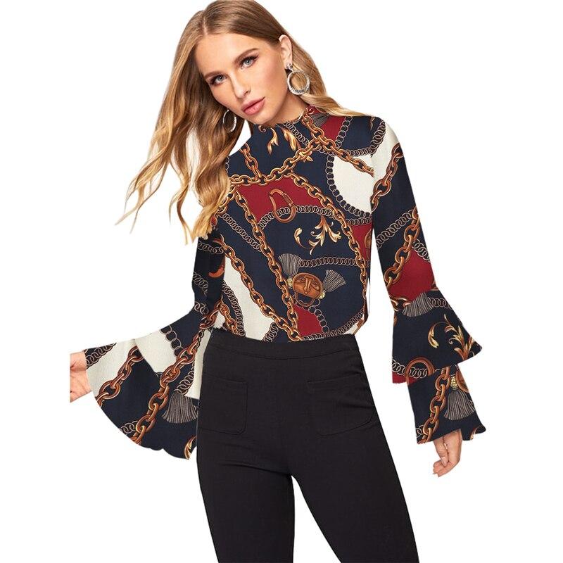 Women Fashion Long Sleeve Office Lady Chiffon   Blouse     Shirt   Fashion Elegant Chain Print Tops Autumn New 2019 Ruffle Sleeve   Shirt