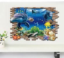 60*90 CM Personalidad Creativa DIY de Papel de Pared de Dibujos Animados de Delfines Finding Nemo Pegatinas de Pared Home Decor 3d Bajo El Agua Marina mundo(China (Mainland))