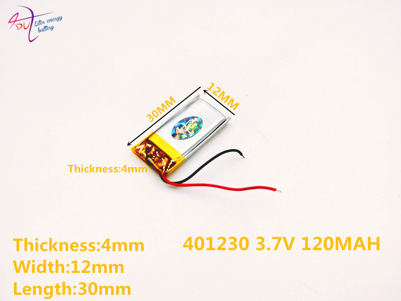 sd Li-ion Battery For Toy,power Bank,gps,mp3,mp4,cell Phone,speaker 401230 3.7v,120mah,401233 Polymer Lithium Ion