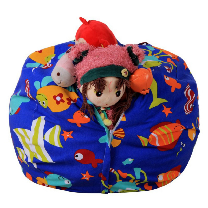 Stuffable Animal Printed Toys Storage Bean Bag Stuffed Children Plush Toy Organizer Chair For Kids
