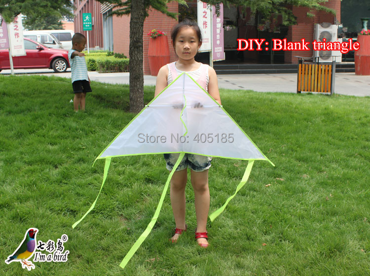 Free Shipping Outdoor Fun Sports Diy Childrens Teaching Printing Triangle Kite Flying