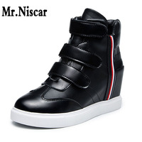 Spring Autumn Korean Casual Shoes Height Increase Within Slim Women Flat Heel Single Shoes Hook Loop High Top Sneakers Woman