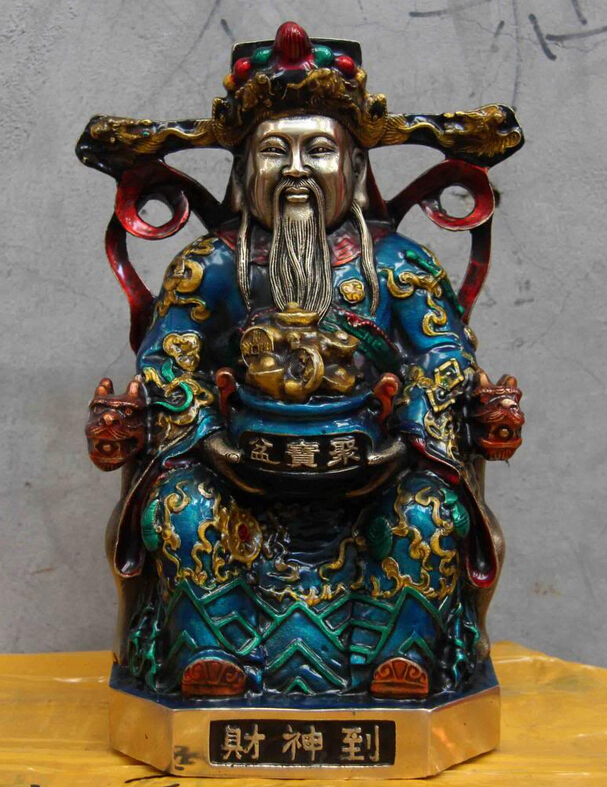 fast shipping USPS to USA S0978 10 Chinese Folk Temple White Copper Silver Painted God of wealth Buddha Statuefast shipping USPS to USA S0978 10 Chinese Folk Temple White Copper Silver Painted God of wealth Buddha Statue