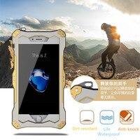Luxus 5 5 s SE R-JUST Leben Wasserdicht Stoßfest Metall Aluminium Rüstung Hard Case Für iPhone 5 s SE + gehärtetem Glas