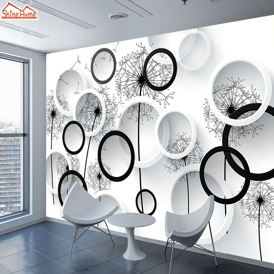 Us 11 0 50 Off Shinehome Black White Dandelion Floral Brick Wallpaper 3d For Walls Wallpapers 3 D Living Room Hall Wall Paper Mural Roll Home In