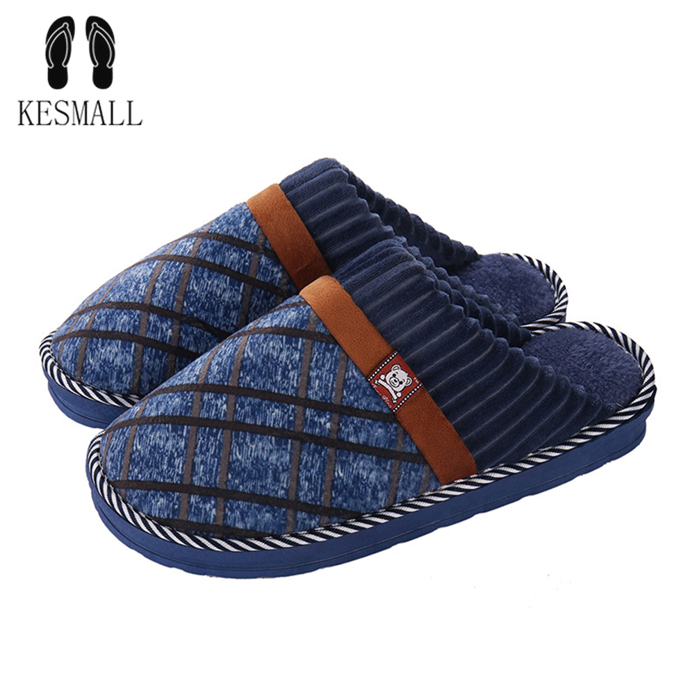 KESMALL Winter Home Slippers Men Footwear Comfortable House Indoor Slippers Male Slipper Warm Soft Shoes Big Size 48 WS282