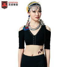 Gypsy Tribal Cotton Top Belly Dance Dancing ATS Belly Dance V-neck Backless Plus Size Women Bra Tops Dance 3 Color