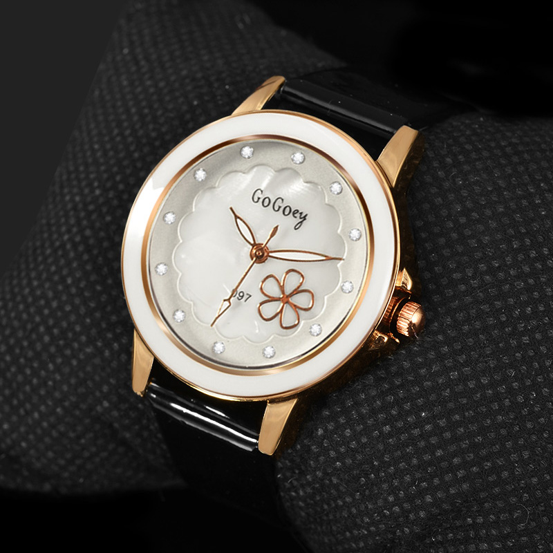 2018 New Hot Sell Quartz Watch Women Gogoey Brand Luxury Leather Watches Rhinestone Designer Ladies Flower Watch Reloj Mujer simple elegant women watches 2018 new hot sell brand gogoey wristwatches fashion ladies leather quartz watch reloj mujer clock page 2