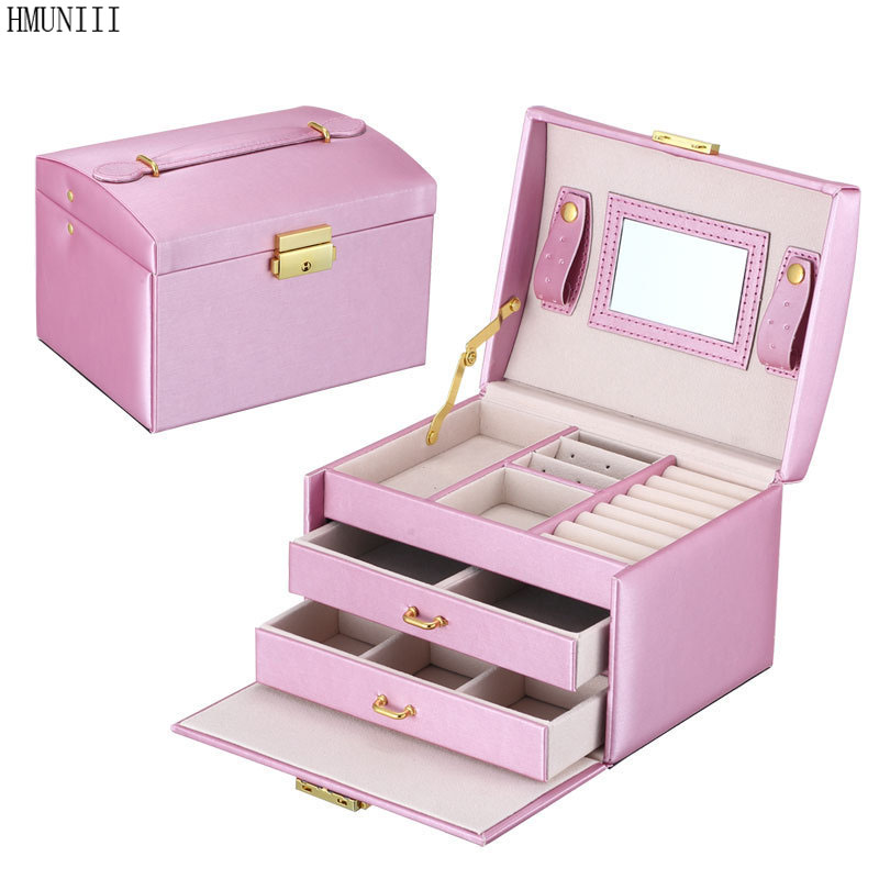 HMUNII Large Capacity Jewelry Container PU Leather Bracelet Necklace Jewelry Box Cosmetic Makeup Case Jewellery Organizer Box