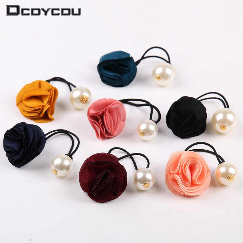 1PC Korea Hair Ring Women Girl Fashion Flower Rose Pearl Hair Tie Head Ornaments Hair Band Hair Accessories
