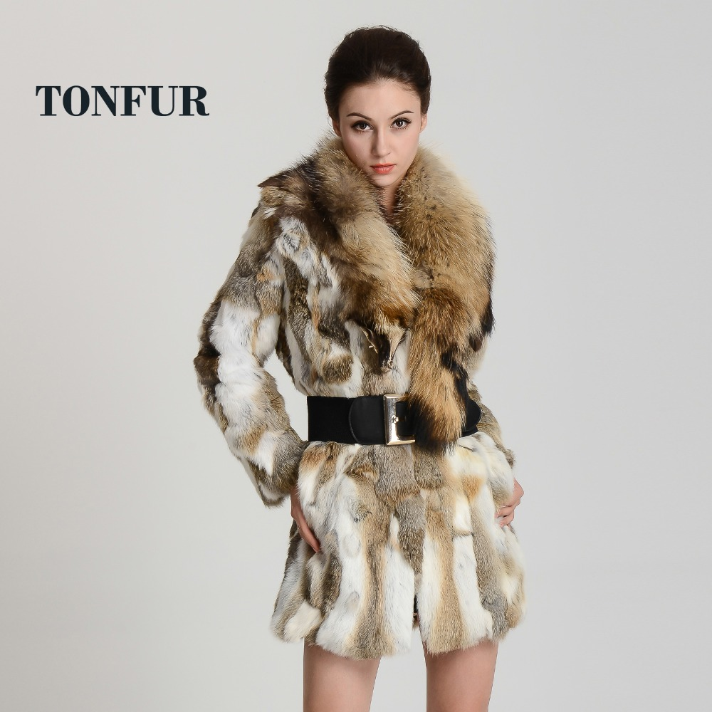Quality rabbit fur coat with raccoon fur /Fashion wild long ...