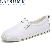 LAISUMK Autumn Women Flats shoes Leather Rivet ballet flats shoes Ladies Women slip-on Loafers Shoes White boat Shoes Designer цена 2017