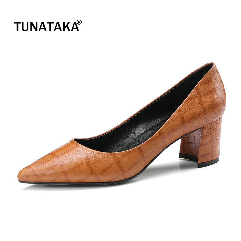 Genuine Leather Comfort Square High Heel Woman Lazy Pumps Fashion Pointed Toe Dress High Heel Shoes Woman Black Brown woman comfort sqaure heel fur genuine leather pumps fashion pointed toe dress lazy high heel shoes woman black wine red