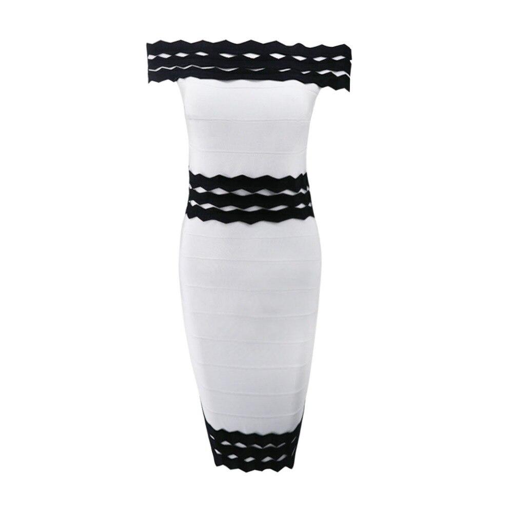 Sexy Spalla Vestito Bianco Nero Donne Fasciatura Della Dalla Rappezzatura Largo Del IwqOxndU