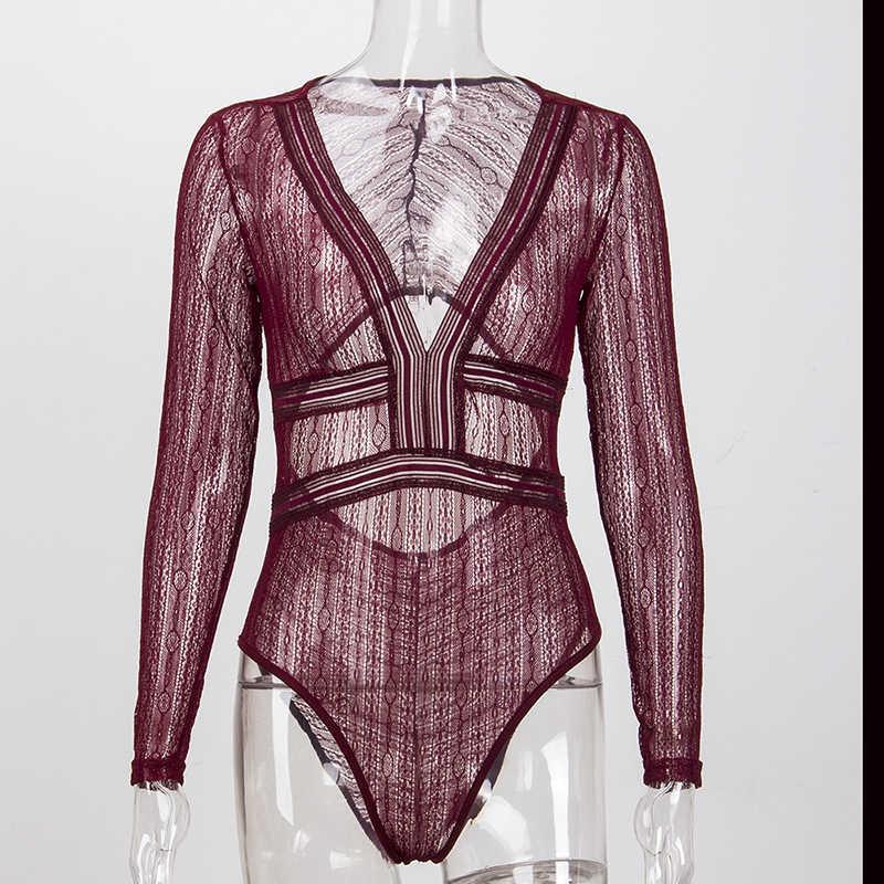 7mang2019 женское тонкое прозрачное кружевное боди с открытой спиной обтягивающая одежда комбинезон сексуальный глубокий v-образный вырез кружева сетка крючком боди