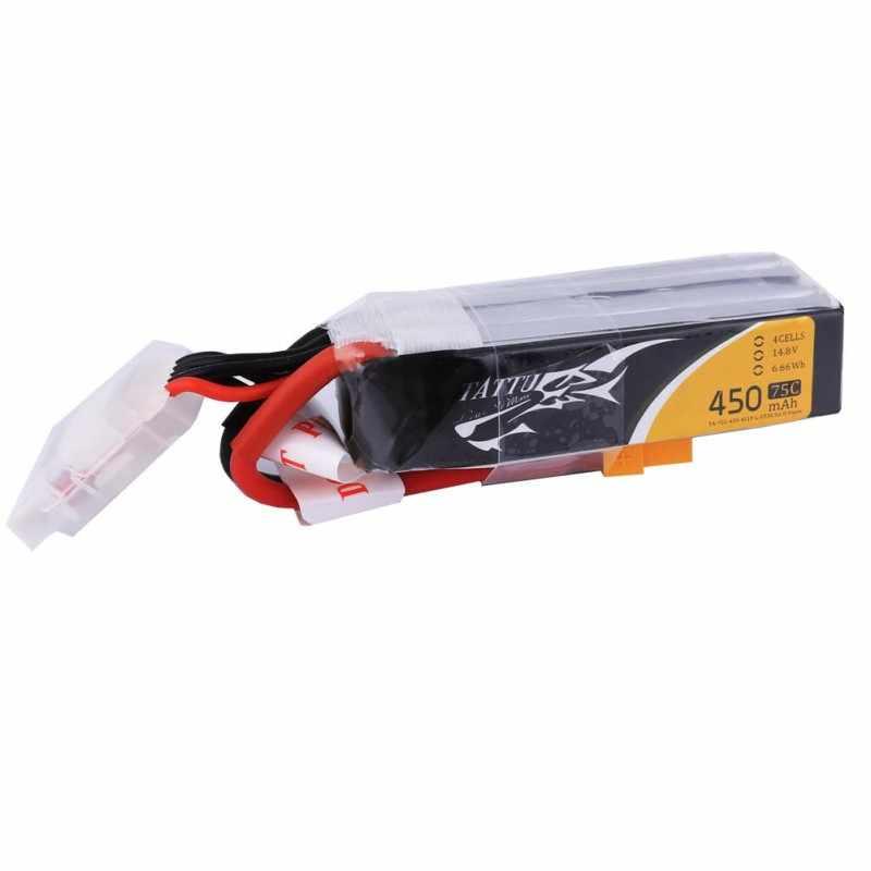 Литий-полимерный аккумулятор tattu 14,8 v 450 mAh литий-полимерный 4S 75C RC Батарея с XT30 разъем батареи длинные Размеры для 150 Размеры ч рама мини-Дрон