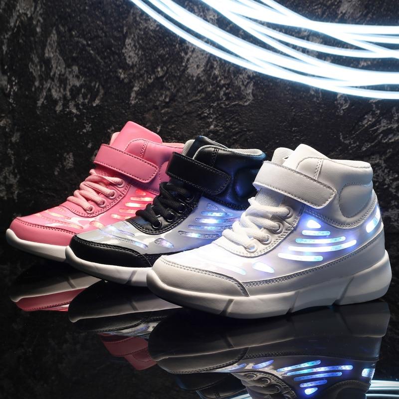 KINE PANDA enfants adolescent brillant lumineux baskets filles garçons école enfants USB charge LED chaussures d'éclairage avec lumière 25-37