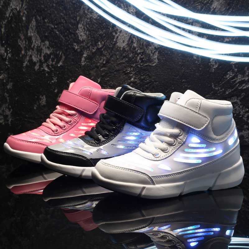 VACHES PANDA Enfants Adolescent Rougeoyant Lumineux Sneakers Filles Garçons École Enfants USB De Charge led chaussures éclairées avec La Lumière 25-37