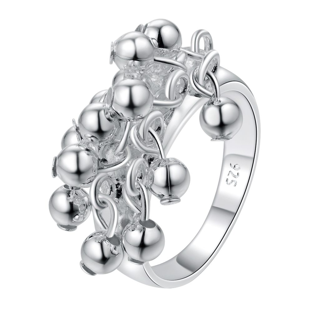 Hot sale cute silver Plated rings for women lady cute hot charms fashion jewelry Free shipping lovely grape beads ring r016