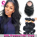Pre Plucked 360 Lace Frontal With Bundles 8A Grade Brazilian Virgin Hair With 360 frontal Closure Body Wave Hair With Frontal