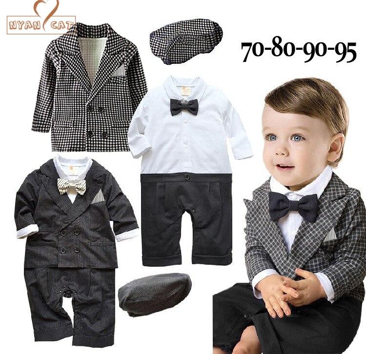 NYAN CAT Baby boys wedding  formal suits 3pcs gentlemen clothing set 2 colors black and plaid hat+romper+jacket terno infantil ремни lee ремень gentlemen