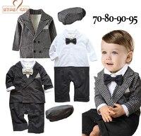 NYAN CAT Bambino ragazzi wedding abiti formali 3 pz signori abbigliamento set 2 colori nero e plaid hat + romper + giacca terno infantil