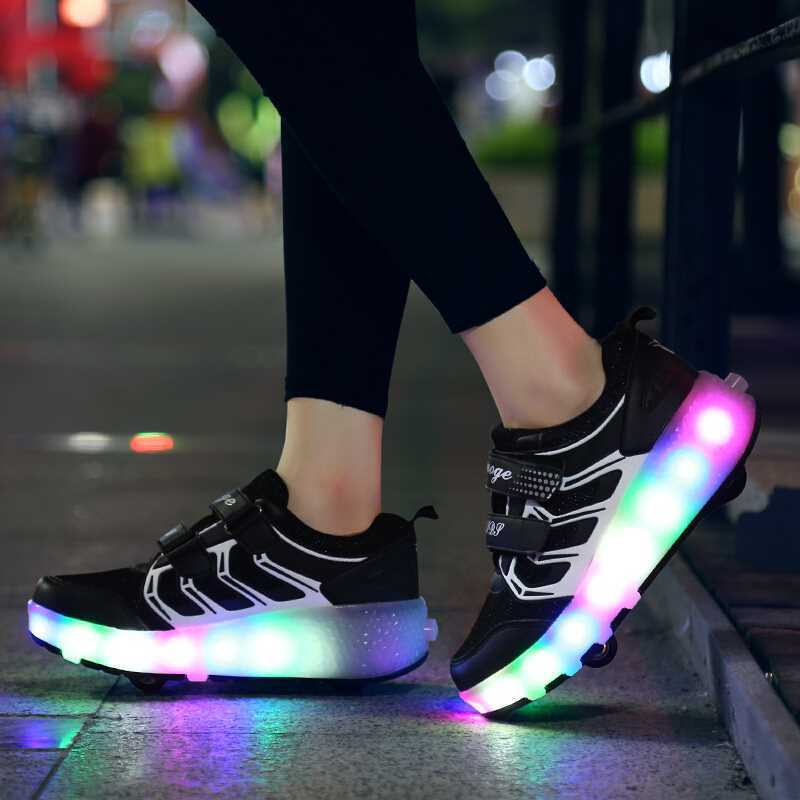 USB Charged LED Flashing Double Roller Skate Shoes Invisible Automatic Pulley Roller Shoes Luminous Sneakers Light