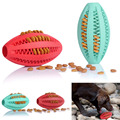 Pets Dog Toy Rubber Rugby Football Toys For Dogs Cats Goods for Dog Cat Pet Training Have Fun Diet Control Dental Massaging Ball
