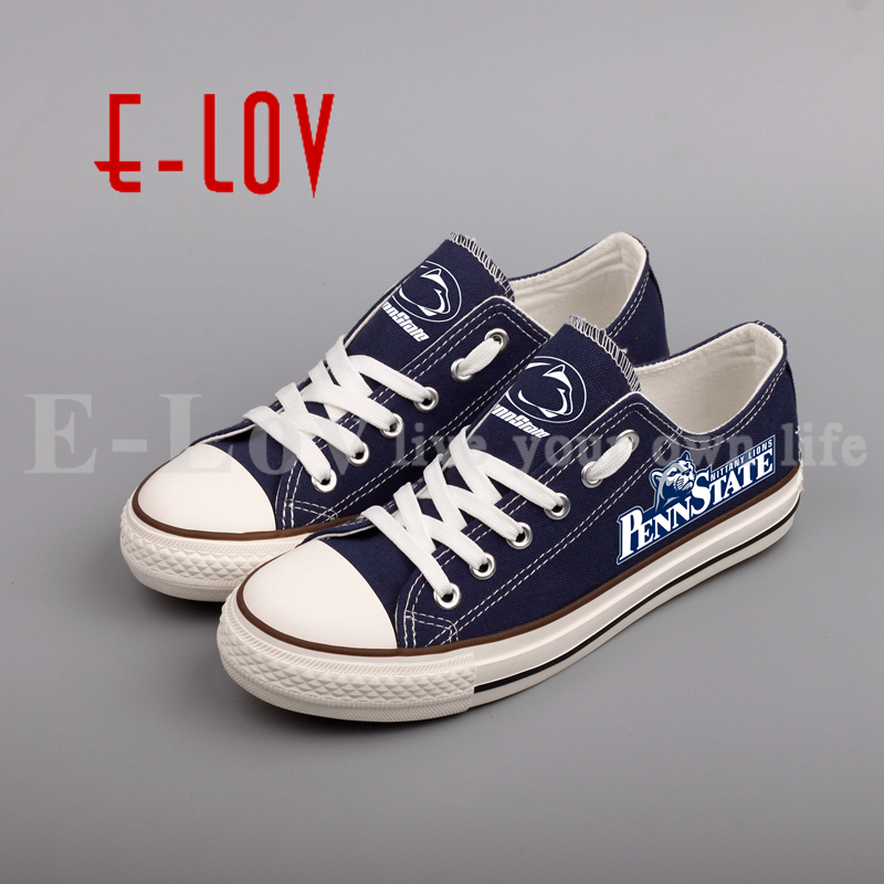 2018 New Style College Canvas Shoes Blue Low Top Color Lace Shoes Girls Women Lovely Print