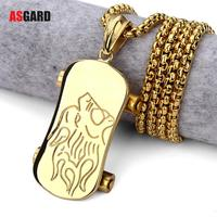 ASGARD Hip Hop Gold Color Stainless Skateboard Pendants Chains Charms Iced Out Bling Crafts Scooter Jewelry