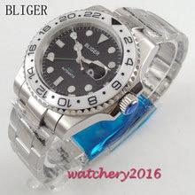 цена 40mm Bliger black Dial white Ceramic bezel Date adjust Luminous Hands Sapphire Crystal GMT Automaic Movement Men's Watch онлайн в 2017 году