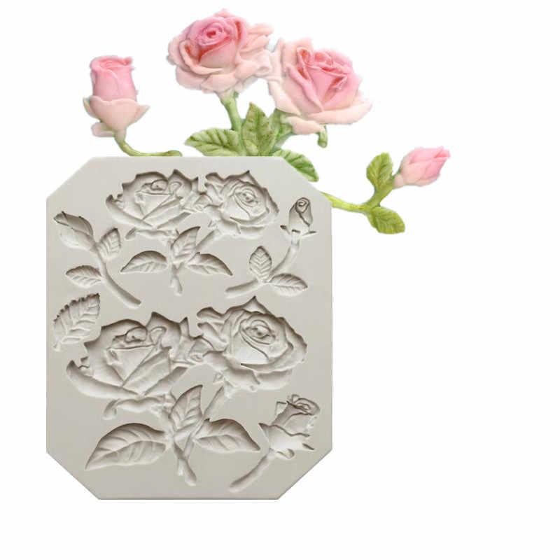 Роза в форме цветка из силикона торт плесень Мягкая форма для леденцов, тортов, шоколада мягкие конфеты инструмент выпечки приспособления J160