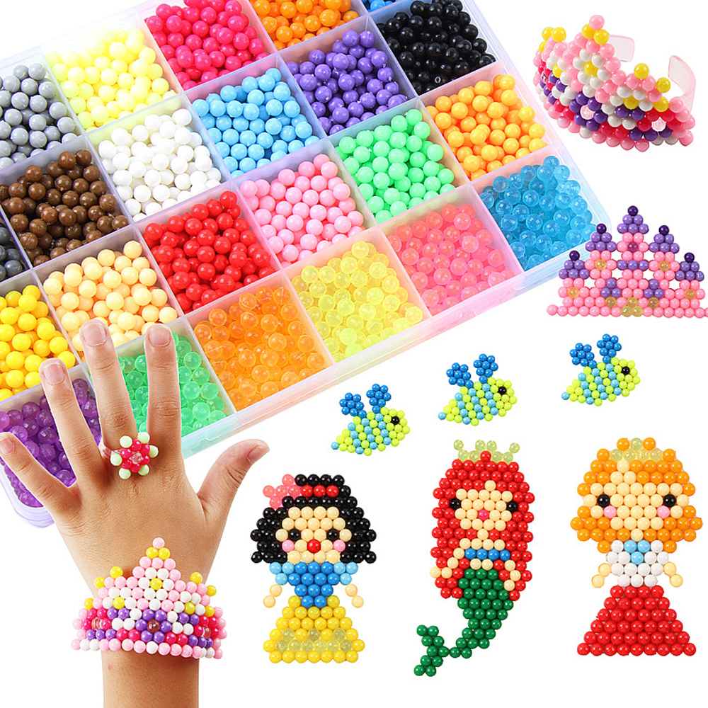 6000pcs 5mm Magic Puzzle Toys Water Mist Beads For Children DIY Hand Craft Toys Animal Molds Water Sticky Beads Children's Gift