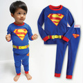 2016 Hot Selling 100% Cotton Kids Cartoon Blue Superman Pajama Sets Baby Boy Clothes Cheap Clothes China