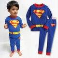 2016 Venta Caliente 100% Algodón Para Niños de Dibujos Animados Azul Superman Pijama Bebé Ropa Barata China