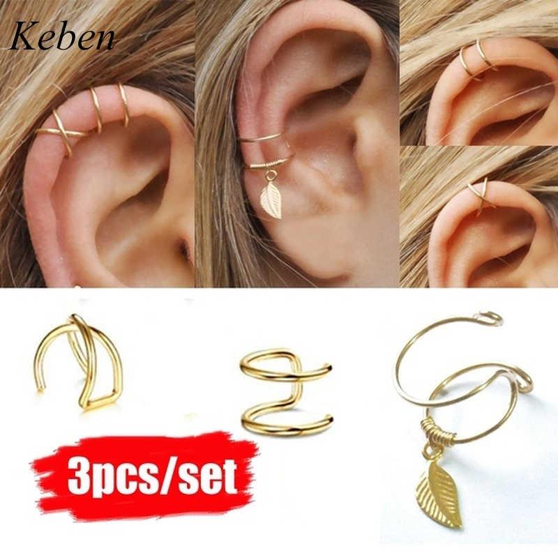 3 pçs clipe no envoltório brinco tragus clipe de punho de orelha de aço inoxidável piercing falso corpo jóias dilataciones falsas
