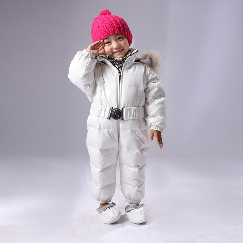 Duck Down Infant Baby Clothes Boys Snowsuit Fur Baby Romper Winter Thick Warm Rompers Newborns Clothes Toddler Girls Boys Coat 2 5 years russian winter baby white duck down rompers with real fur hood outdoor skit snowsuit girls clothing infant boy romper