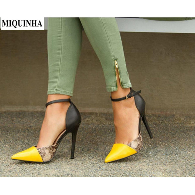MIQUINHA Shoes Woman 2017 Yellow Black Woman High Heel Pointed Toe Buckle  Pumps Shallow Snake Print Ladies Mixed Color Pumps 508c635b7