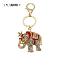 LAOSHUMIN Cute Elephant Crystal Rhinestone Keyring Key Chains Holder Purse Bag For Car christmas Gift Keychains Jewelry KD48