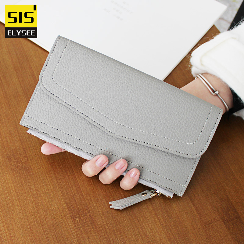 Vintage Thin Long Wallet Women European and American Style Zipper Coin Purse Pu Leather Litchi Grain
